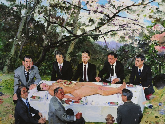 Liu Xiaodong 2007 under the cherry blossoms 195x260cm.jpg